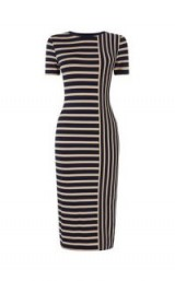 OASIS SPLICED STRIPE TUBE DRESS / blue striped bodycon
