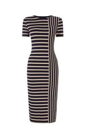 OASIS SPLICED STRIPE TUBE DRESS / blue striped bodycon