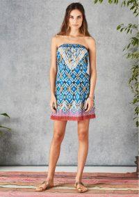 The Dressing Room STAR MELA IZA SUNDRESS – MULTI – strapless cotton dress – embroided detail