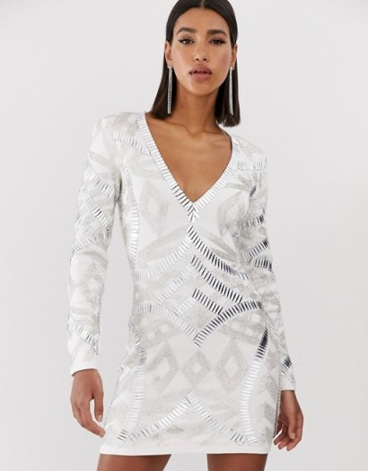 Starlet allover embellished plunge front mini dress in white ~ glam party bodycon