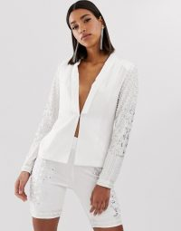 Starlet white embellished blazer in white ~ luxe partywear