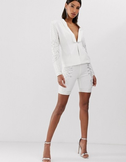Starlet embellished front legging short in white ~ luxe style party fashion