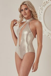 STEPHANIE PRATT – HALTER NECK CUT OUT SWIMSUIT – GOLD | Goddiva
