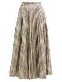 A.W.A.K.E. MODE Stephanie python-print pleated cotton skirt in grey | animal printed pleats