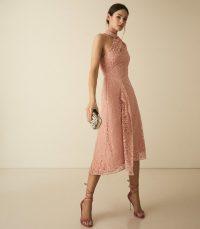 Reiss STEPHIE ASYMMETRIC LACE DRESS BLUSH ~ light-pink occasion dresses