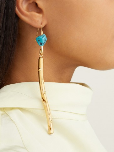 MARNI Stick hook earrings ~ turquoise resin and gold tone drops