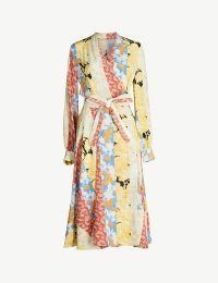 STINE GOYA Reflection printed silk-crepe de chine midi wrap dress in floral wallpaper