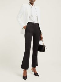 GIVENCHY Stitched-front kick-flare trousers in black ~ stylish tailored pants