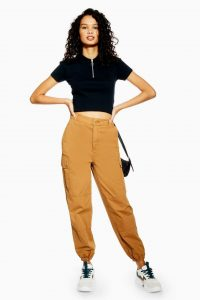 TOPSHOP Stone Cuffed Utility Trousers