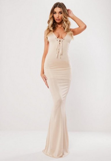 MISSGUIDED stone lace up slinky maxi dress ~ glamorous evening fashion