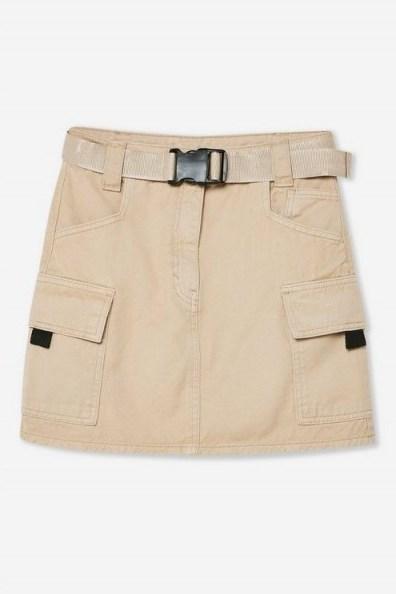 TOPSHOP Stone Mini Denim Skirt. NEUTRAL UTILITY SKIRTS - flipped