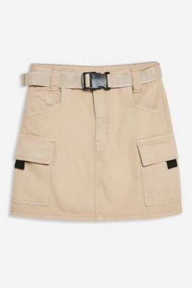 TOPSHOP Stone Mini Denim Skirt. NEUTRAL UTILITY SKIRTS
