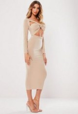 MISSGUIDED stone slinky cut out knot front midi dress ~ going out glamour