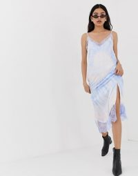 Stradivarius tie dye slip cami dress in blue | festival frocks