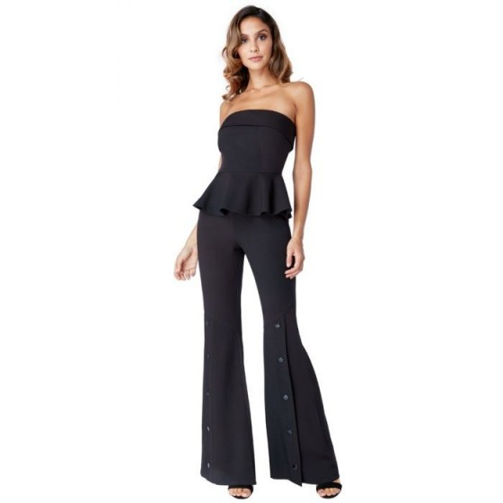 STRAPLESS PEPLUM BELLBOTTOM JUMPSUIT – BLACK | Goddiva