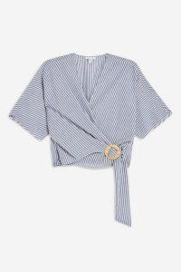 Topshop Stripe Buckle Wrap Blouse in Navy Blue   fresh spring / summer tops