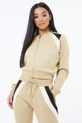 THE COUTURE CLUB STRIPE PANEL CROPPED BOMBER BEIGE ~ casual sports style