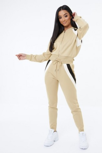 THE COUTURE CLUB STRIPE PANEL JOGGERS BEIGE ~ fitted track suit bottoms ~ relaxed sports style jogger