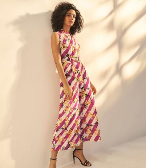 KAREN MILLEN Striped Floral Jumpsuit ~ mixed print jumpsuits