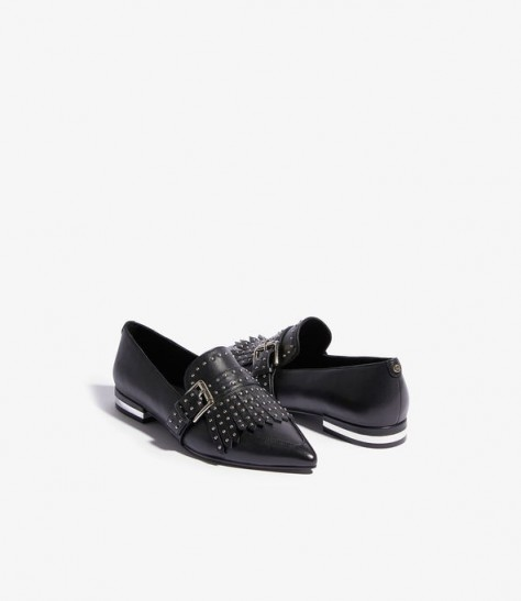 KAREN MILLEN Studded Fringed Loafers in black ~ stylish point toe flats