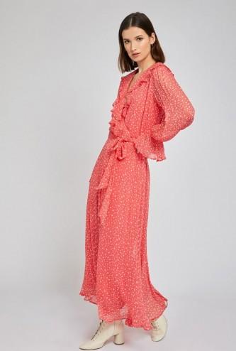 GHOST SU DRESS Coral Star Print | floaty boho frock