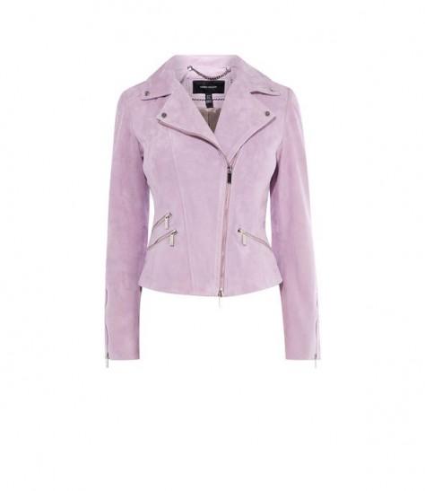 KAREN MILLEN Suede Biker Jacket in Lilac ~ luxe jackets