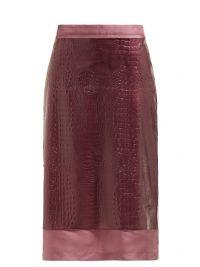 SIES MARJAN Sula crocodile-effect midi skirt in purple ~ overlay skirts