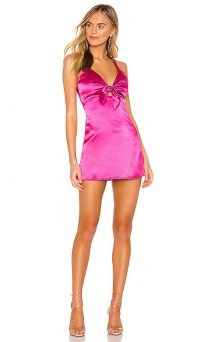 superdown Lisette Mini Dress in Magenta | plunging front tie dresses