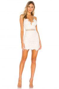 superdown Remi Lace Mini Dress in White | thin strap party dresses