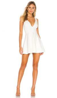 superdown Vika Deep V Dress in White | plunge front fit and flare