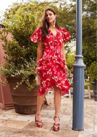 The Dressing Room TALULAH POLLEN MIDI DRESS – RED LEAF