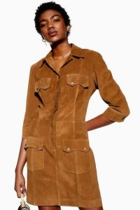 Topshop Tan Suede Shirt Dress | brown retro dresses