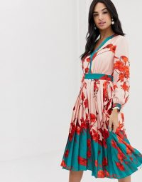 Ted Baker Karolyn fantasia pleated midi dress in pale pink / feminine florals