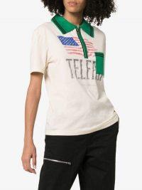 Telfar Flag Print Polo Shirt in white and green / logo prints