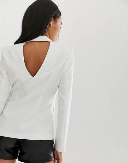 4th + Reckless cut out back blazer in white – classic jacket with a twist - flipped