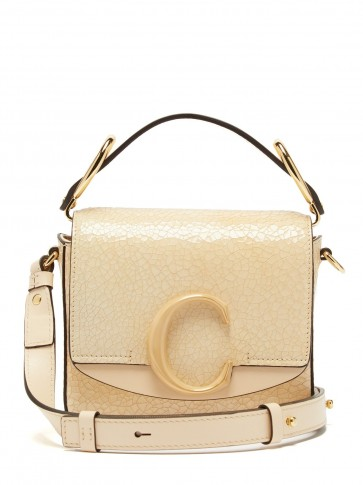 CHLOÉ The C mini cracked-leather shoulder bag in cream ~ small chic handbag