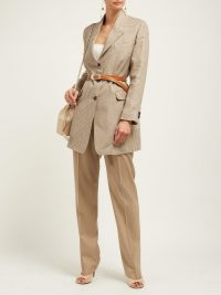 GIULIVA HERITAGE COLLECTION The Karen single-breasted checked linen blazer / chic longline jacket