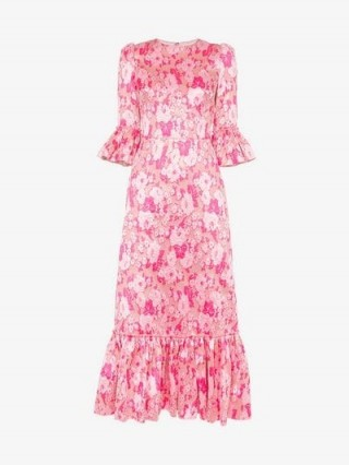 The Vampire's Wife The Juno Floral Print Silk Dress in Pink / frill trimmed dresses