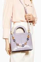 TOPSHOP Tia Croc Grab Bag in lilac / pastel crossbody