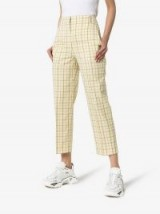 Tibi Checked Tapered Trousers in Yellow