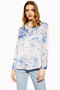 TOPSHOP Tie Dye Shirt / high low hemline