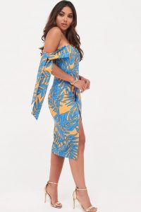 LAVISH ALICE tie sleeve detail wrap midi dress with fold in palm print | off shoulder party dresses