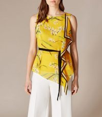 KAREN MILLEN Tie-Waist Floral Top in Yellow ~ asymmetric hemlines