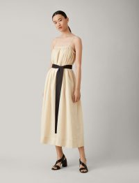 Joseph Tilda Ramie Voile Dress in Pearl ~ skinny strap dresses