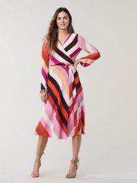 Diane von Furstenberg Tilly Silk Wrap Dress in Carson Stripe Foxglove | classic retro wrap dresses