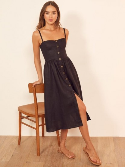 Reformation Tori Dress in Black | skinny strap fit and flare