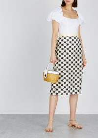 TORY BURCH Ivory guipure lace skirt