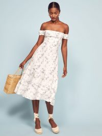 Reformation Toulouse Dress in Madeline | floral bardot fit and flare