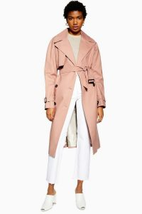 Topshop Trench Coat in Peach   belted spring coats