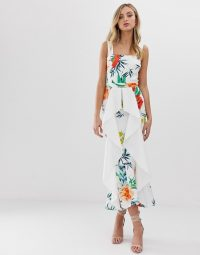 True Violet exclusive waterfall frill bodycon dress in ivory floral